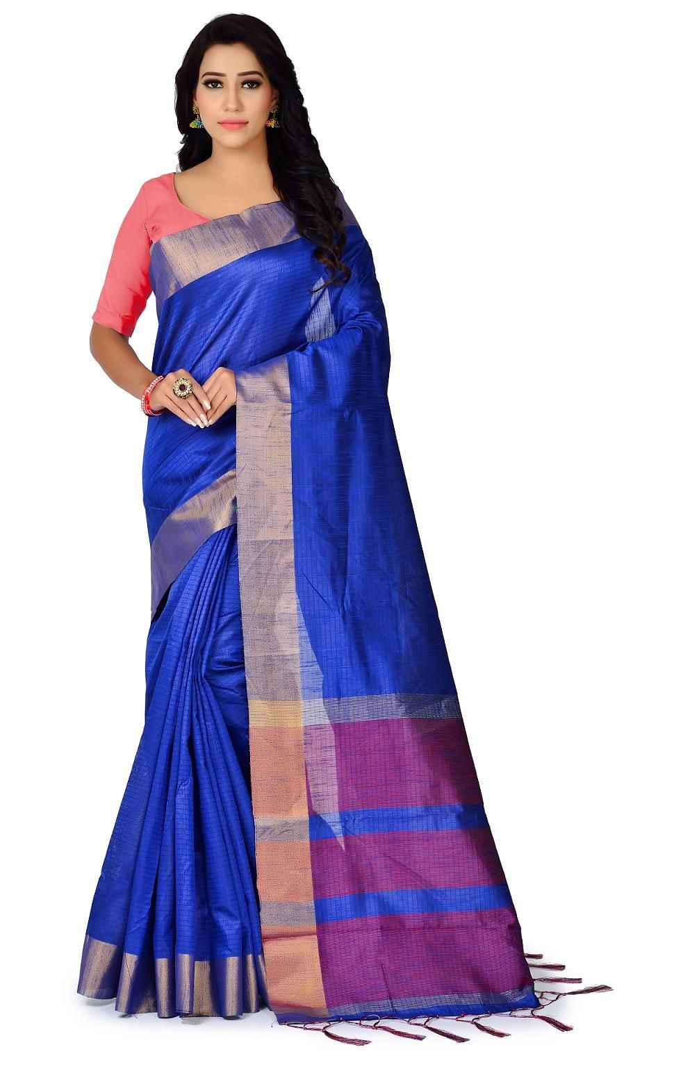 Women's Ethnic Polyester Cotton Solid With Border Regular Royal Blue Saree