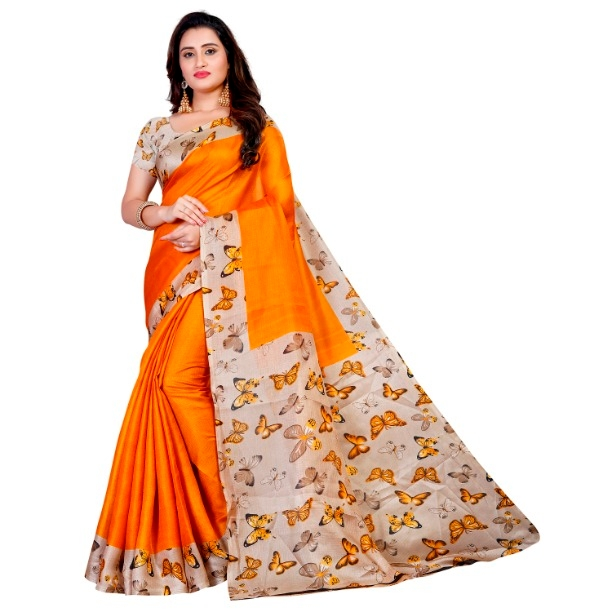 Pretty Yellow Khadi Cotton Printed Regular Saree