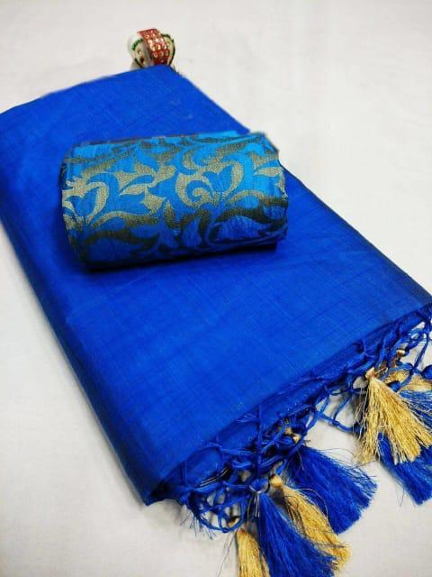 Elegant Blue Chanderi Cotton Solid With Jhalar Work Saree