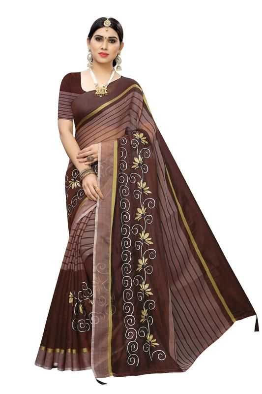 Women's Special Brown Cotton Embroidery Work Saree