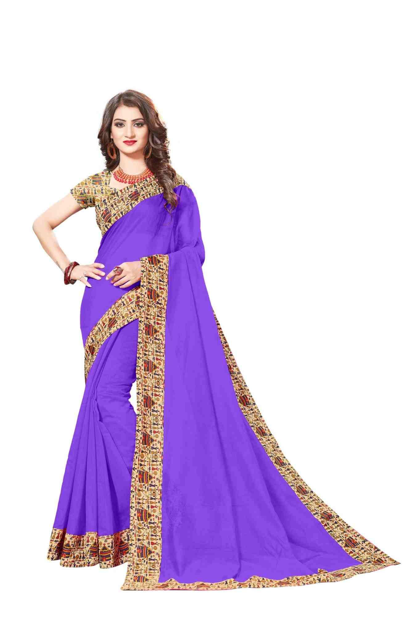 Queen's Gorgeous Chanderi Lace Border Regular Saree