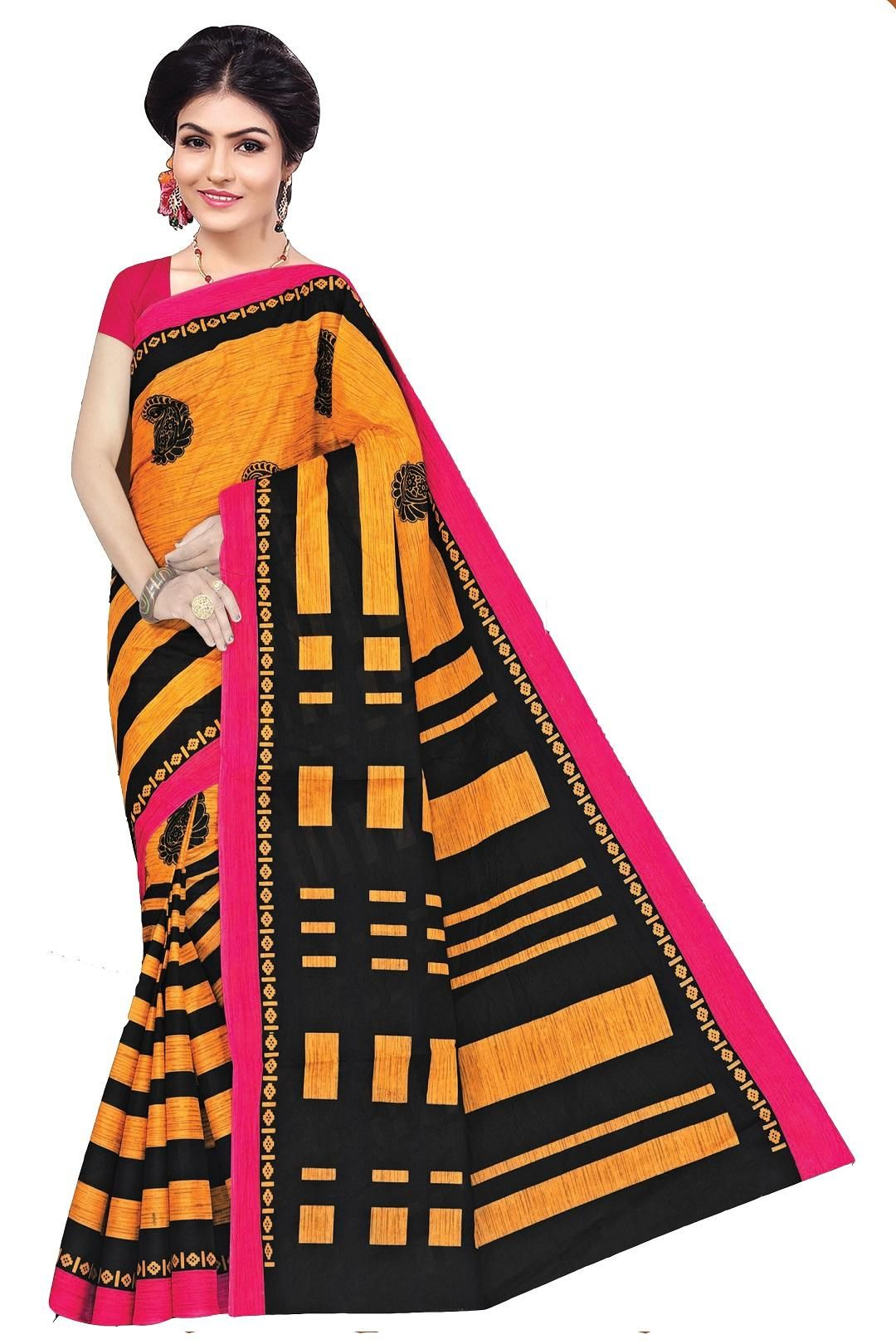 Women's Valuable Yellow Cotton Printed Regular Saree With Blouse Piece