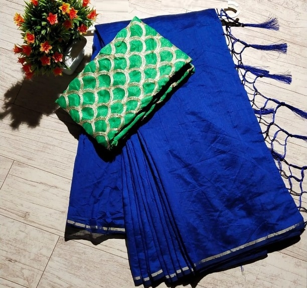 Elegant Regular Blue Chanderi Solid with Jhalar Saree