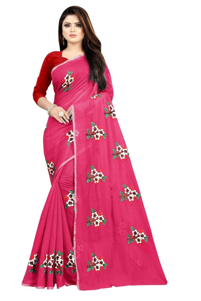 Valuable Chanderi Cotton Embroidered Regular Pink  Saree