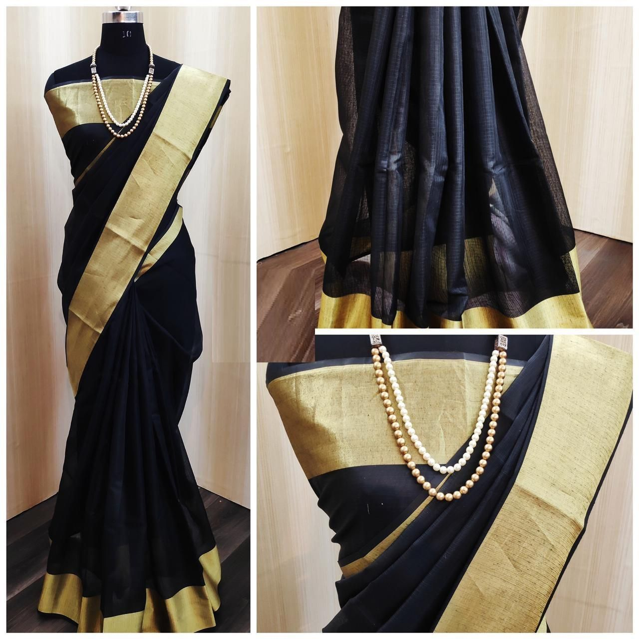 Chanderi Black Satin Silk Printed Regular Saree
