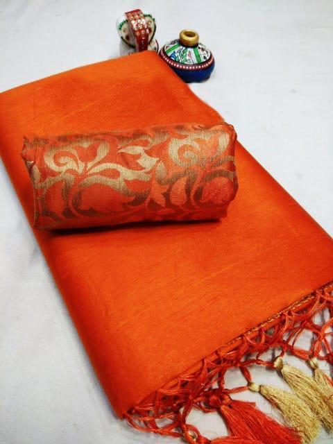 Elegant Orange Chanderi Cotton Solid With Jhalar Work Saree