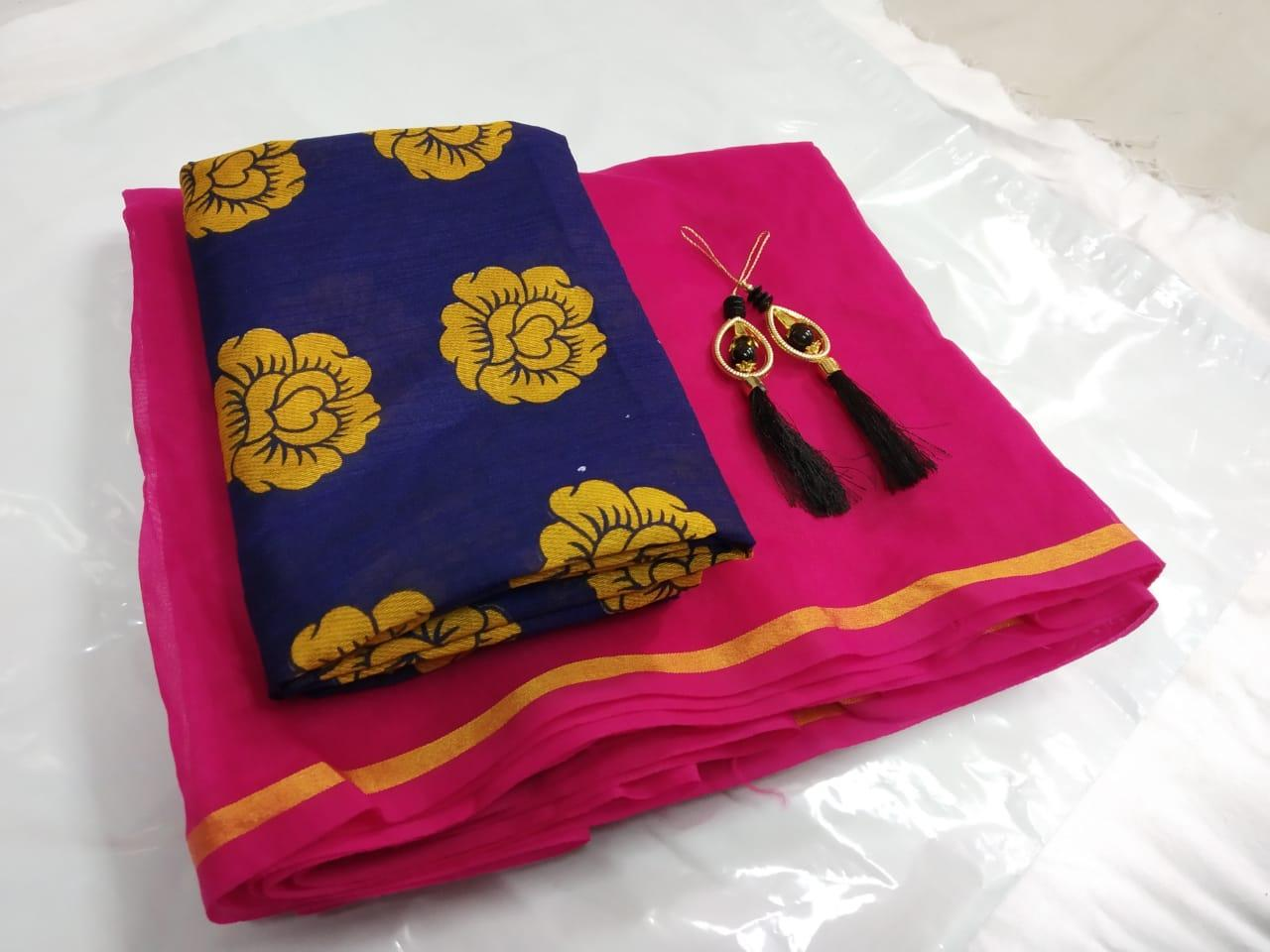 Beautiful Pink Chanderi Cotton Solid With Lace Border Regular Saree