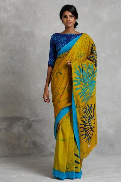 Simple Yellow Mulmul Cotton Printed Regular Saree