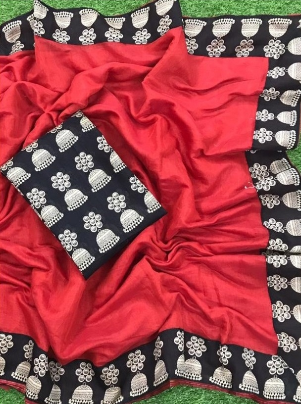 New Women's Special Red Chanderi Lace Border Regular Saree