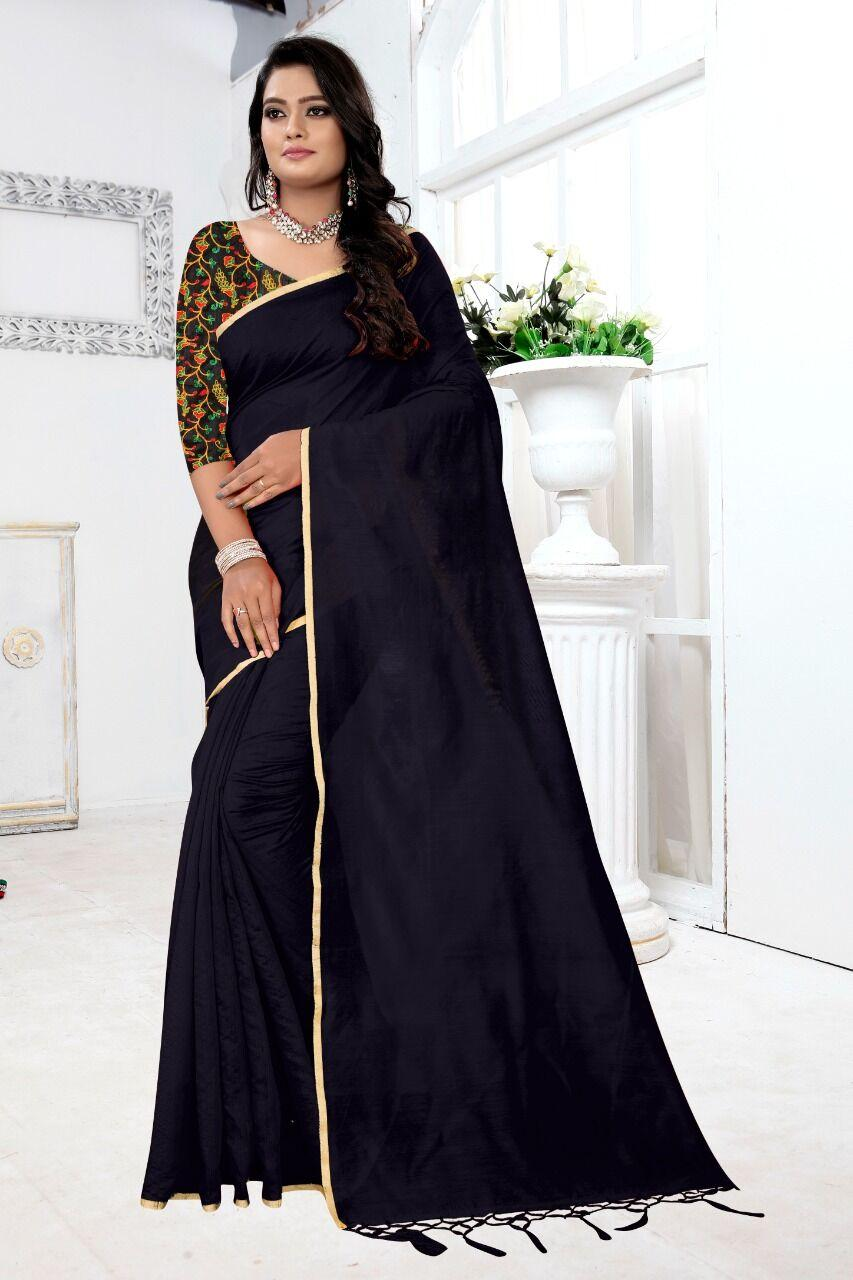 New Chanderi Cotton Solid With Jhalar Work Regular Black Saree
