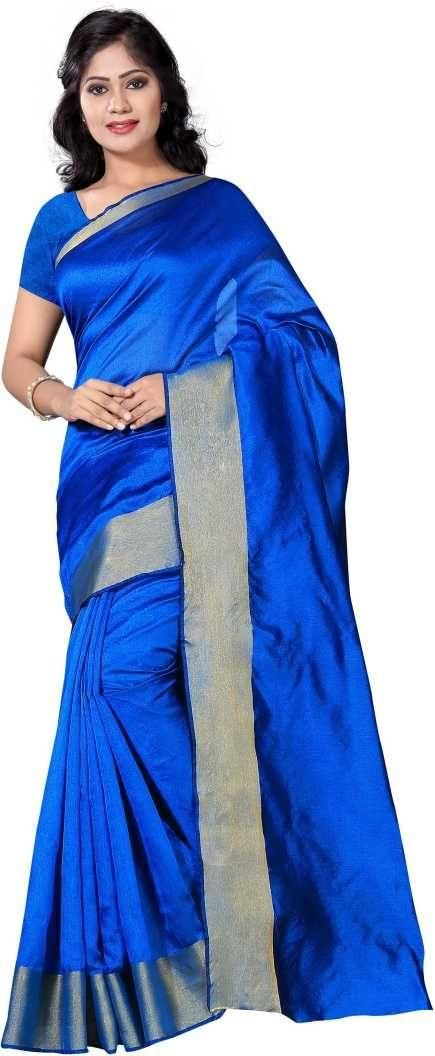 Authentic Blue Poly Cotton Solid With Border Saree