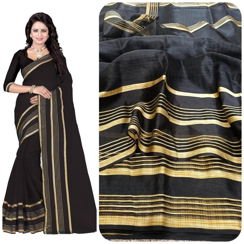 Fabulous Black Poly Cotton Weaving Saree