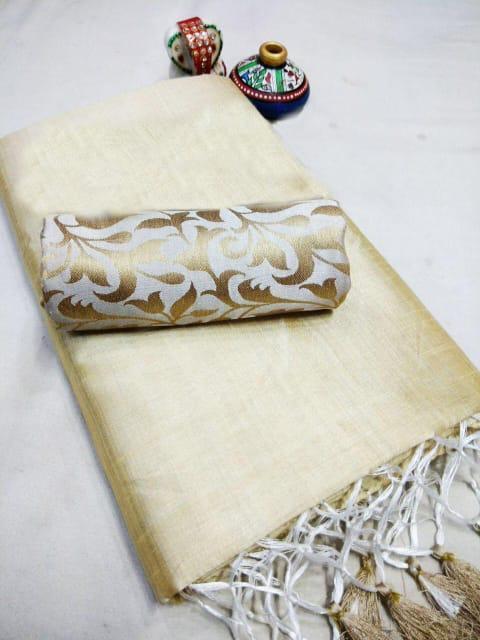 Elegant Off white Chanderi Cotton Solid With Jhalar Work Saree