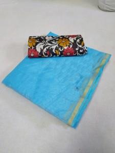 Chanderi Sky Cotton Printed Saree