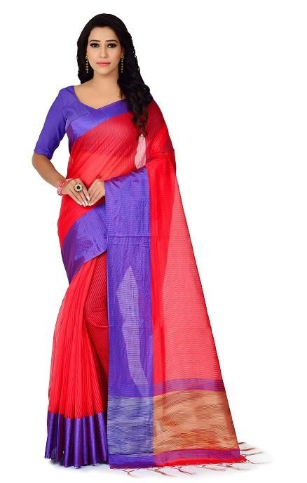 Lady's Trendy Polyester Cotton Solid With Border Regular Red Saree
