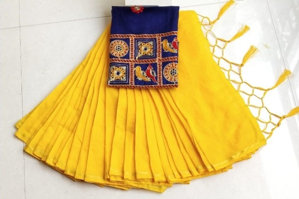 Lady's Trendy Yellow Chanderi Cotton Solid Saree With Blouse Piece