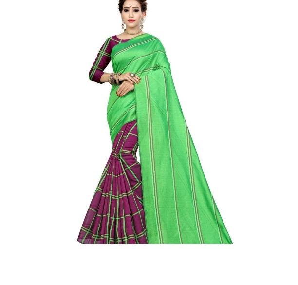 Women's Regular Pretty Green Polycotton Stripes Saree