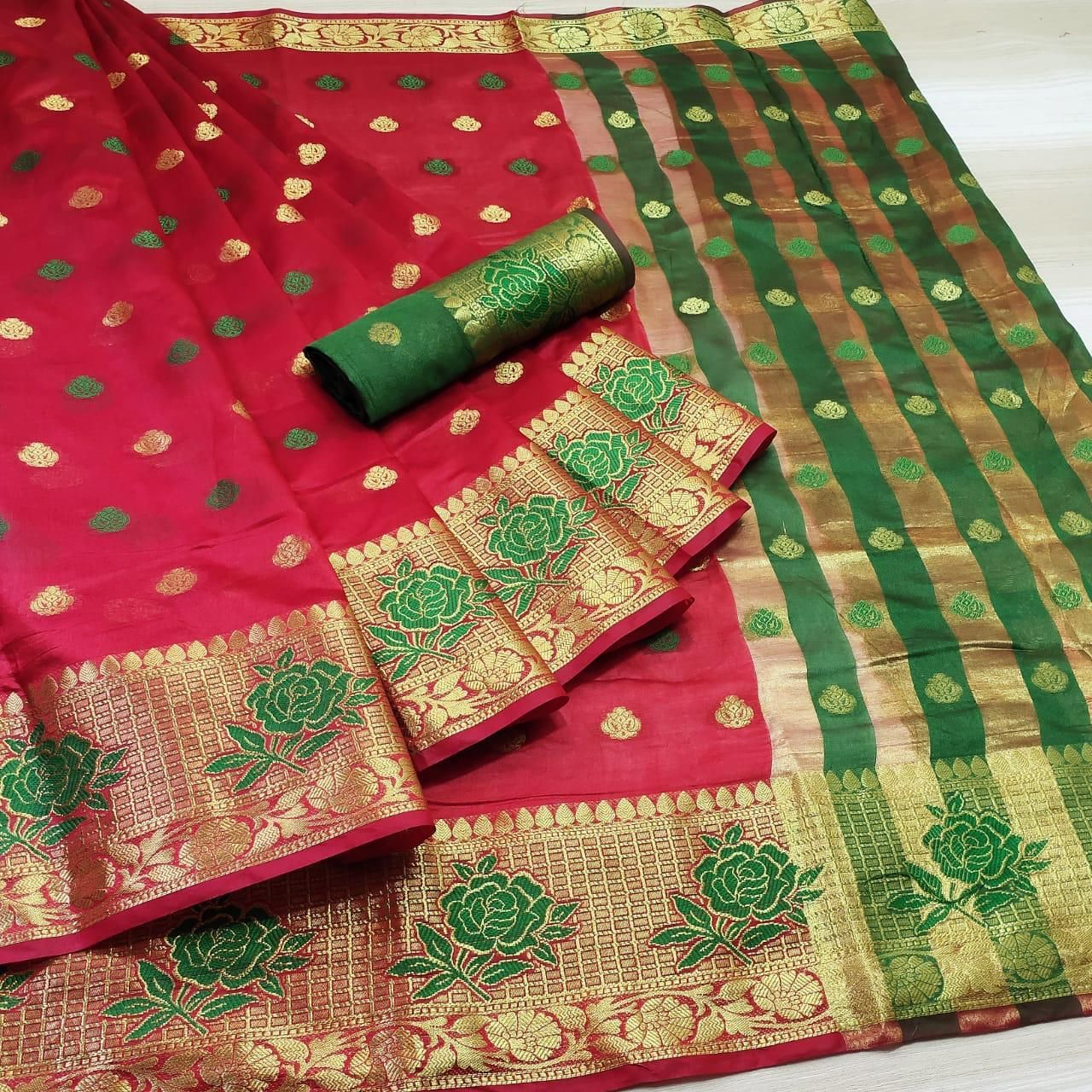 Cotton Silk Jacquard Saree