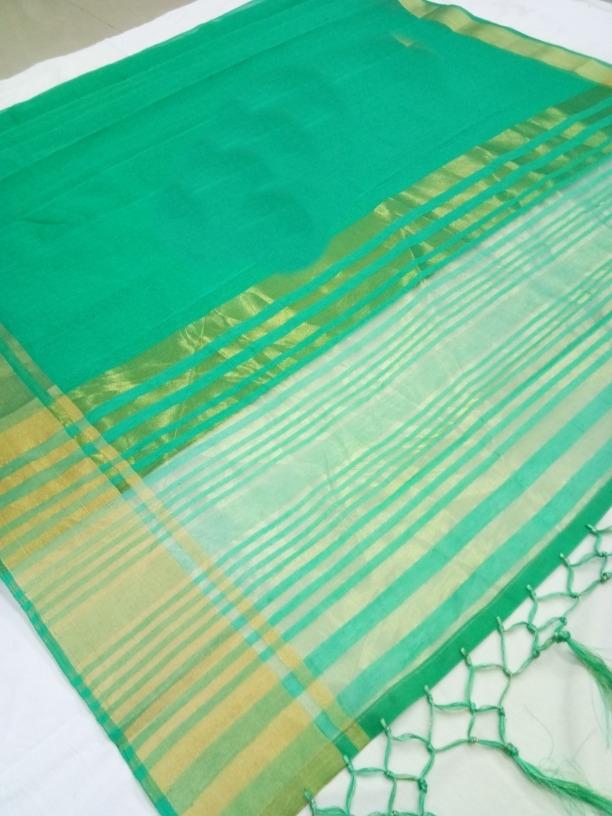 Lady Regular Pretty Green Cotton Silk Woven Saree