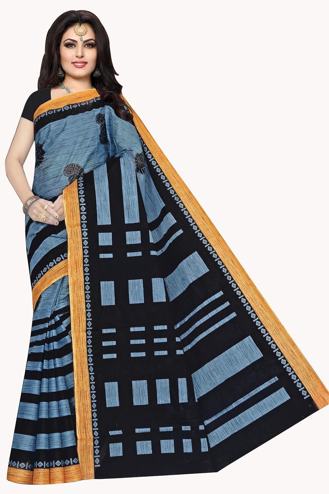 Women's Valuable Cotton Printed Regular Saree With Yellow Border