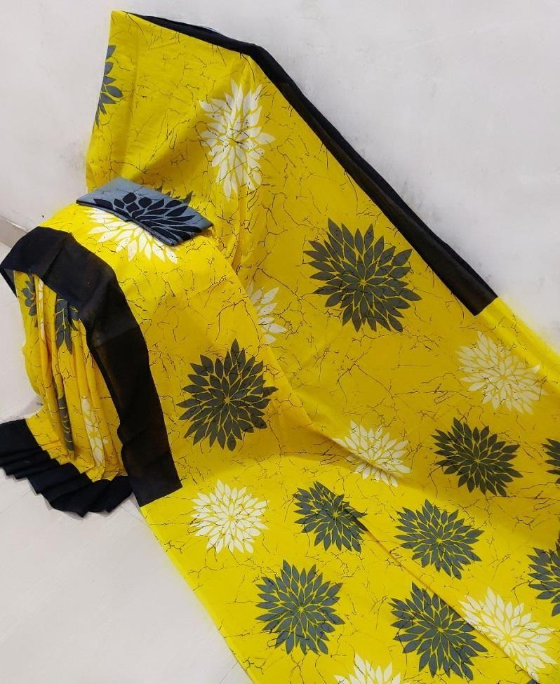 Glorious Yellow Cotton Mulmul Jaipuri Printed Work Regular Saree