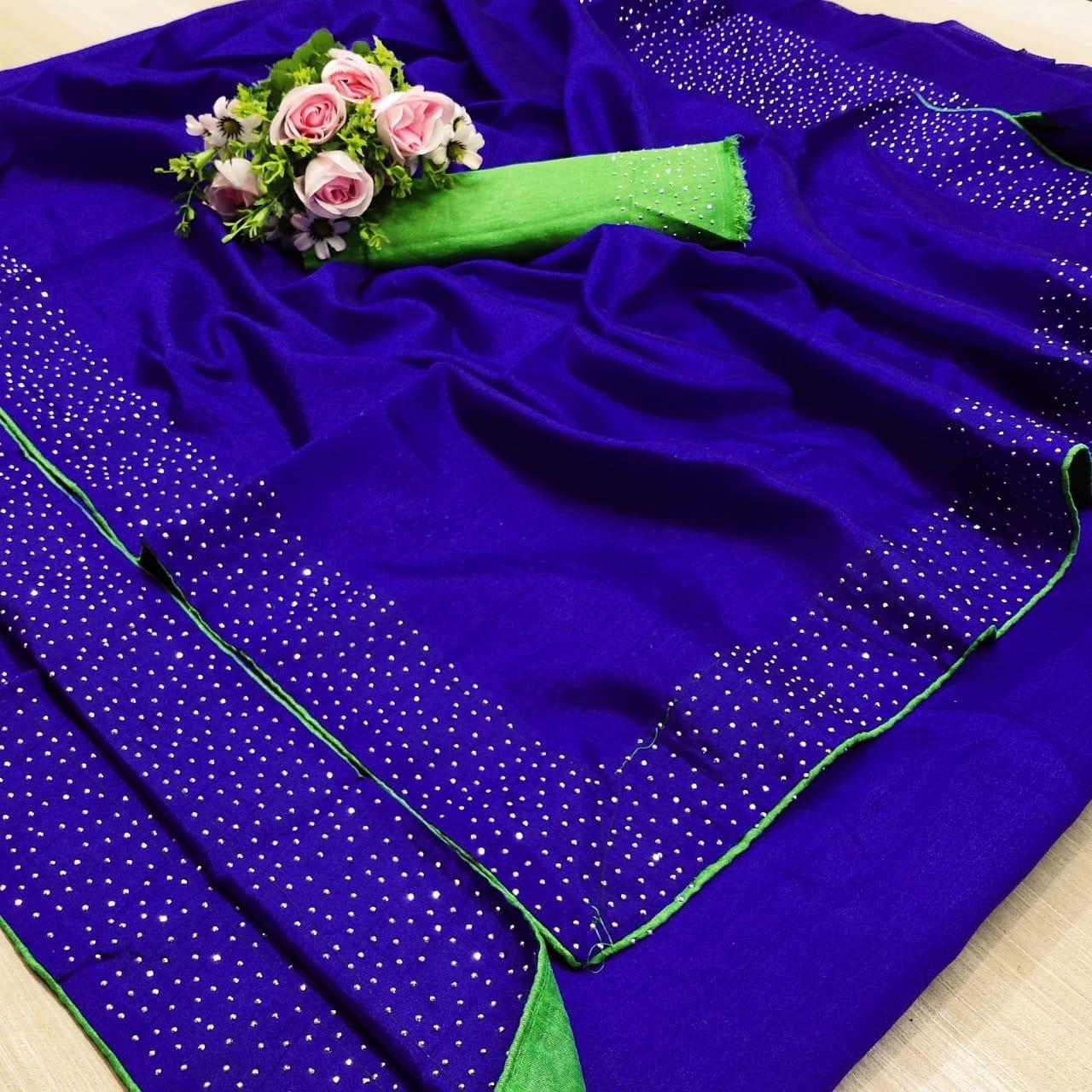 Pretty Blue Green Banglori Silk Solid With Stone Border Regular Sarees