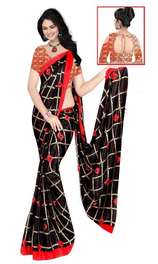 Glamorous Black Silk Checks Print Saree