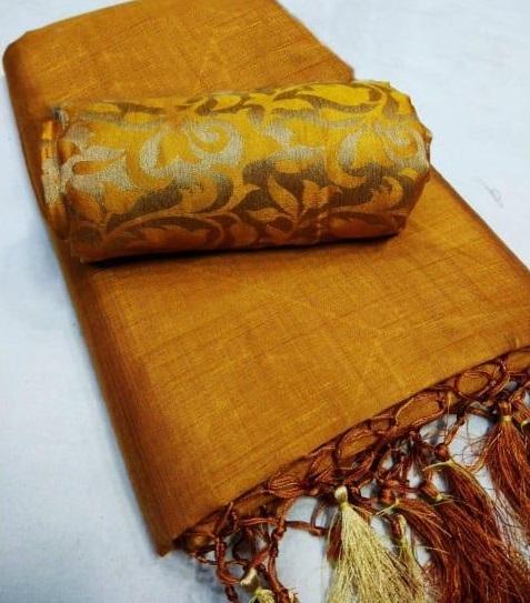Queen's Stunning Chanderi Jhalar Solid Regular Mustard Saree