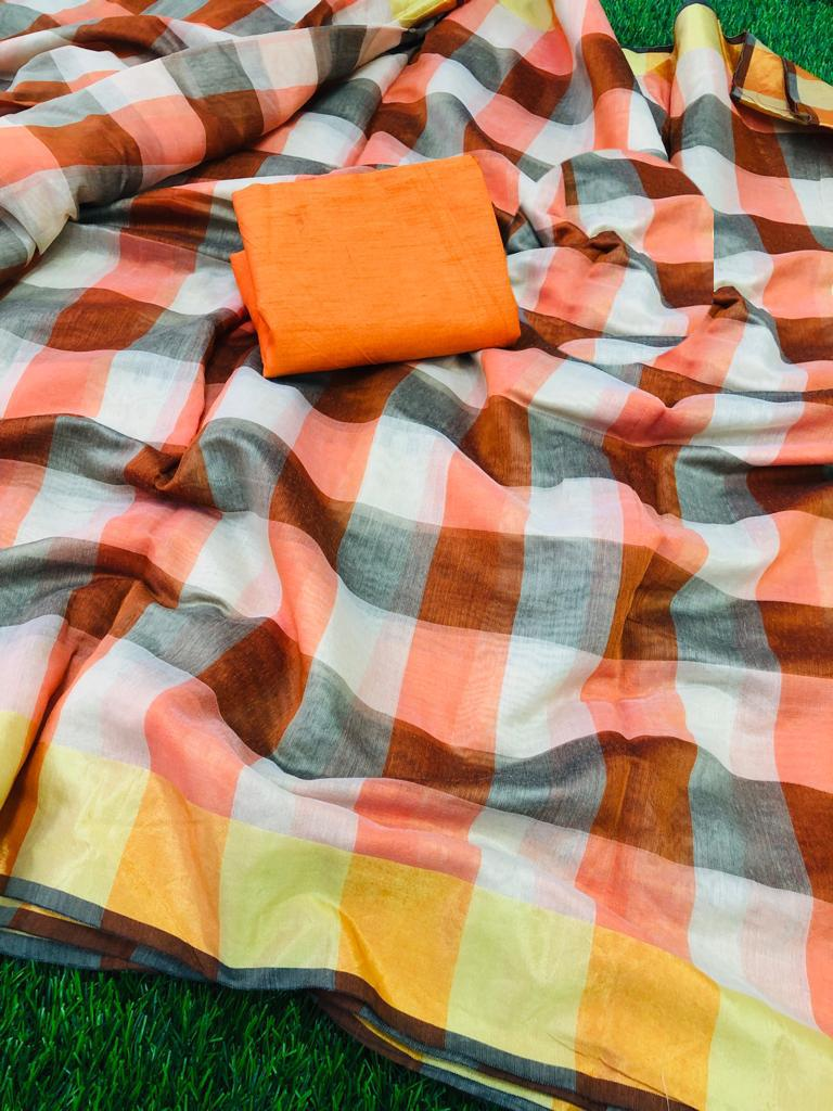 Trendy Orange Chanderi Cotton Checks Print Regular Saree