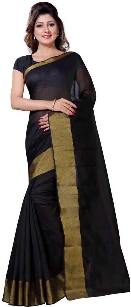 Unique Black Poly Cotton Solid With Border Saree