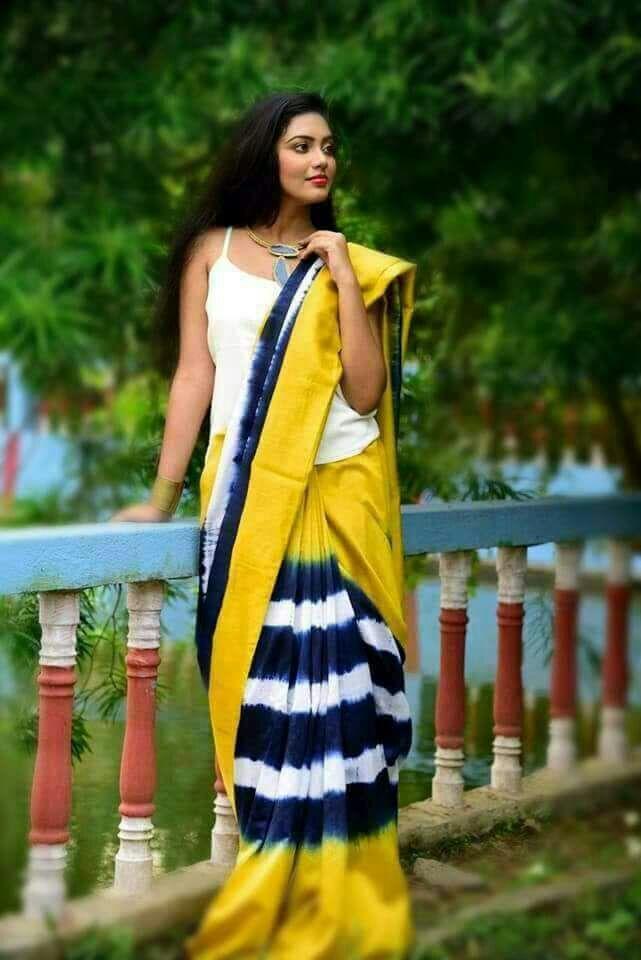 Precious Yellow Mulmul Cotton Printed Regular Saree