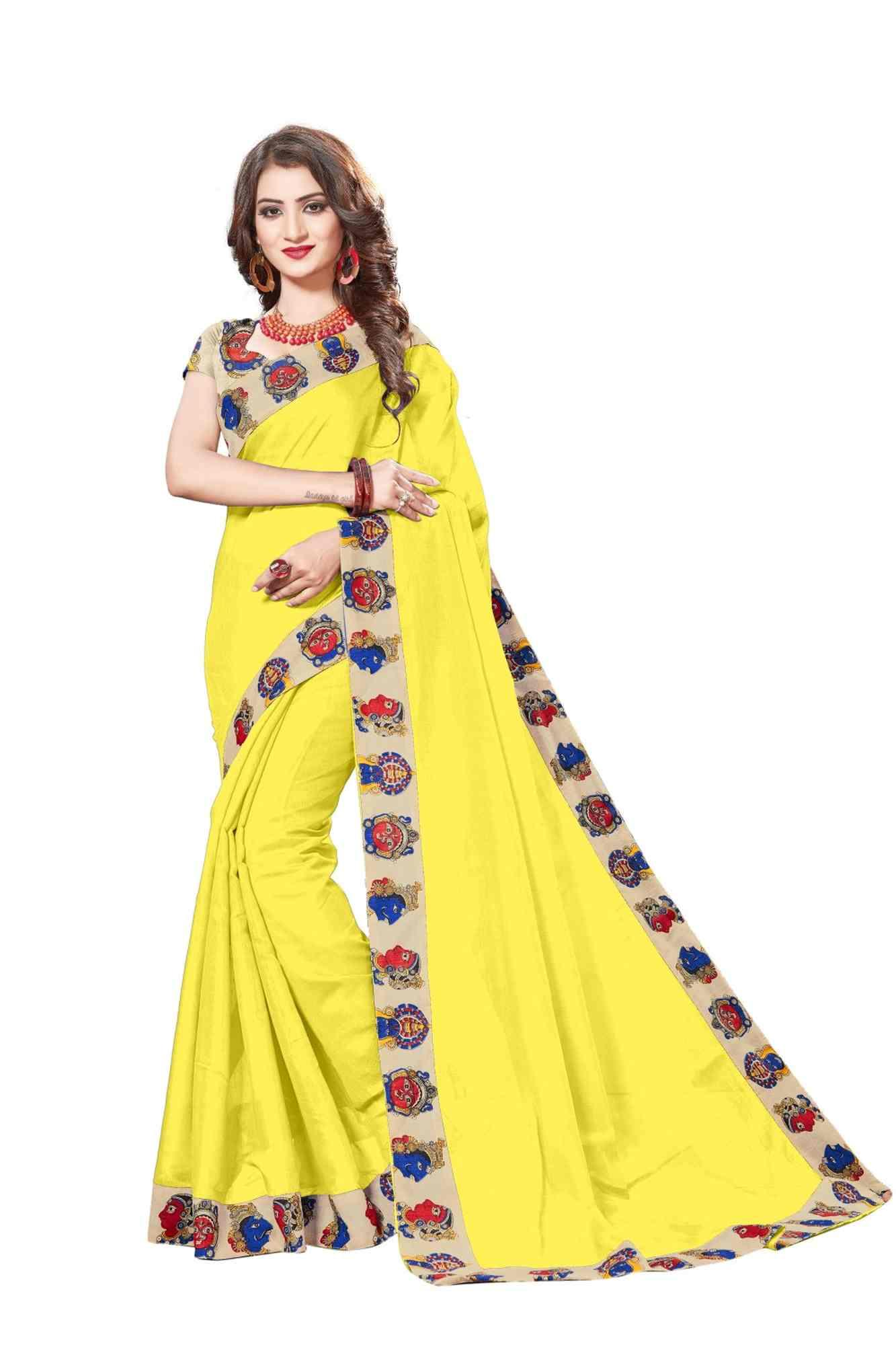 Queen's Yellow Gorgeous Chanderi Lace Border Regular Saree