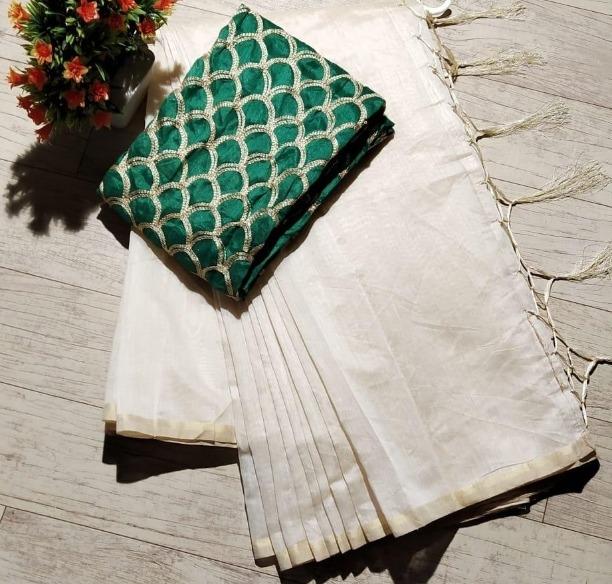 Elegant Regular White Chanderi Solid with Jhalar Saree