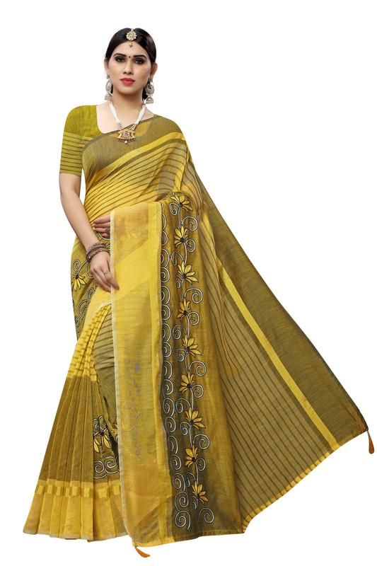 Women's Special Yellow Cotton Embroidery Work Saree