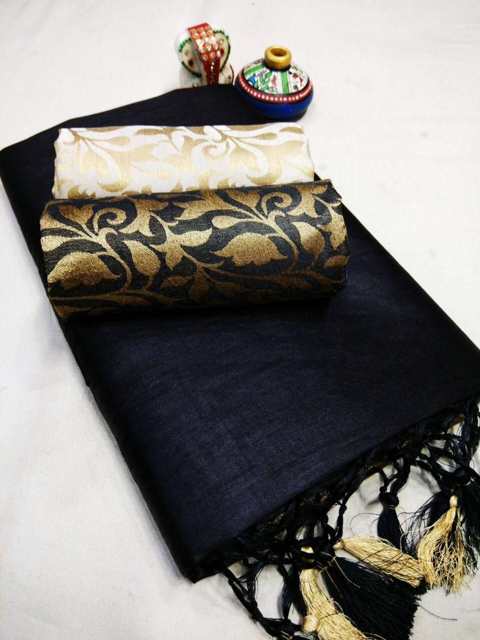 Special Dark Blue Chanderi Cotton Solid With Jhalar Regular Saree