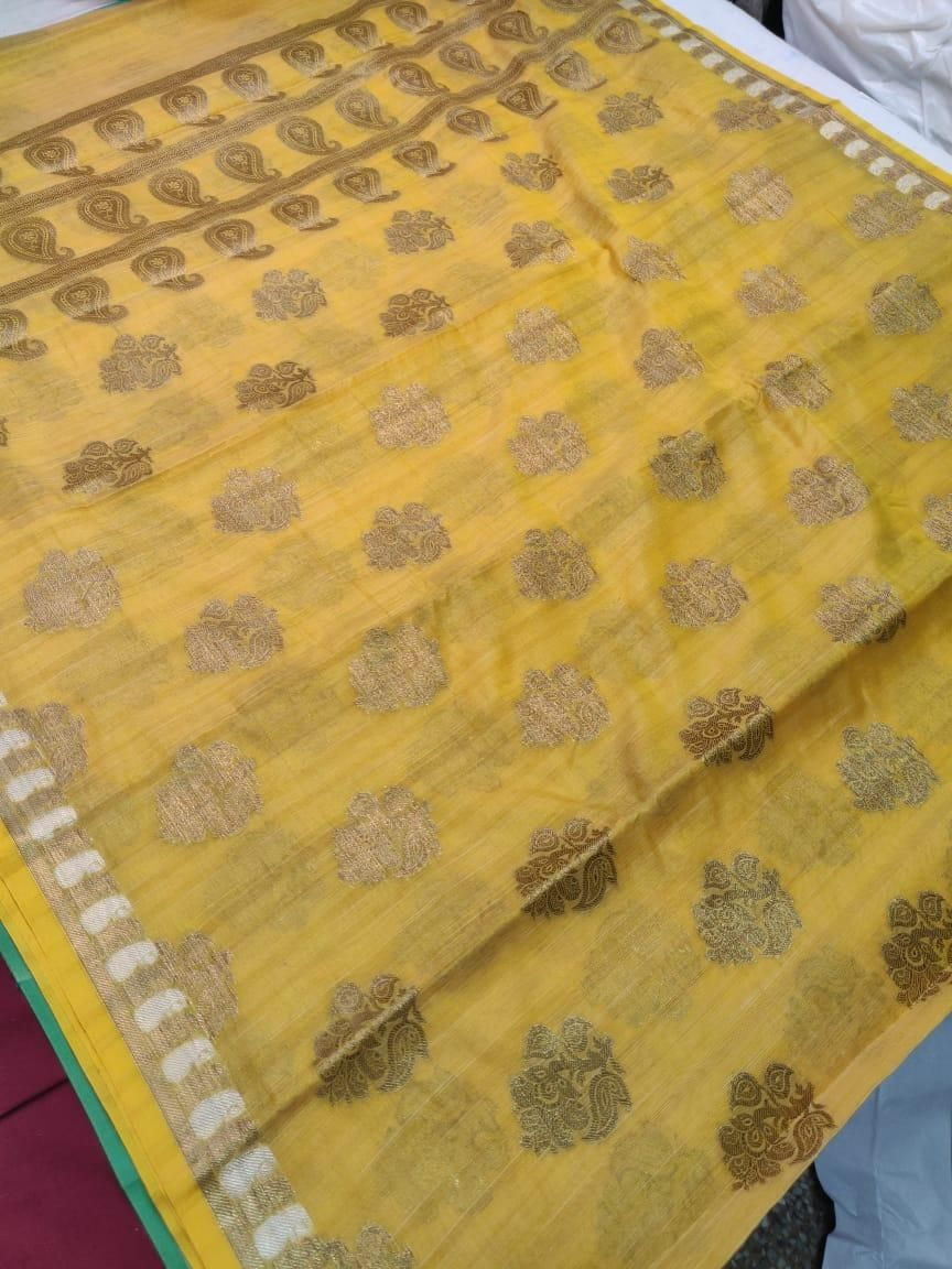 Women's Unique Light Yellow Banarasi Cotton Zari Print Saree
