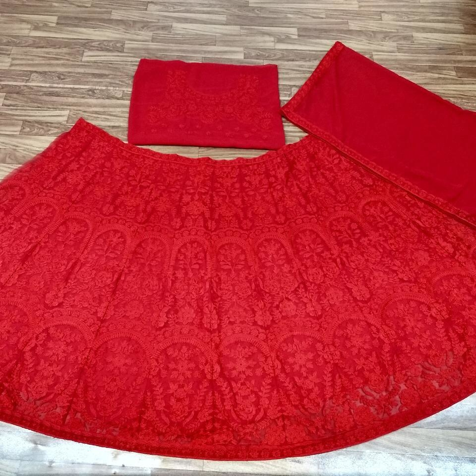 Designer Georgette Chain Stitched Embroidered Lehenga Choli