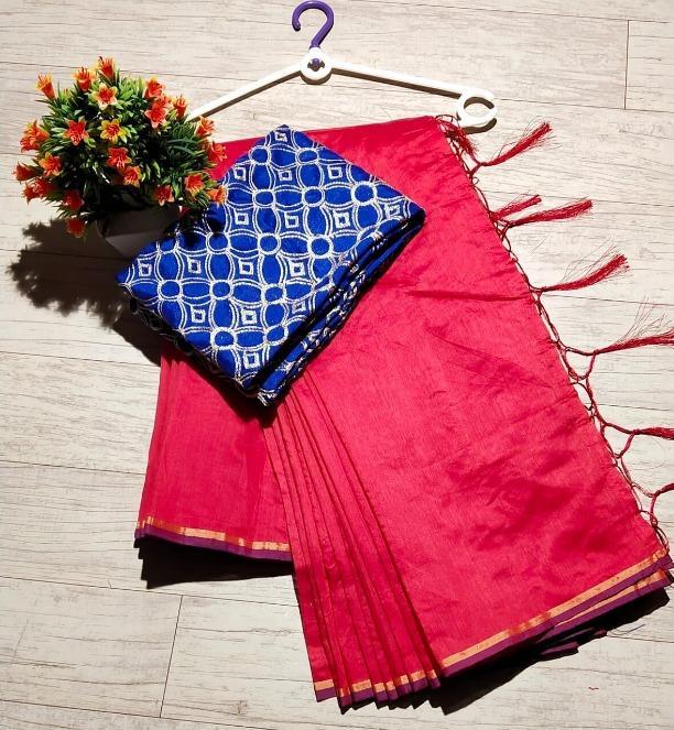 Women's Chanderi Pink Plain Regular Saree With Blue Blouse Piece