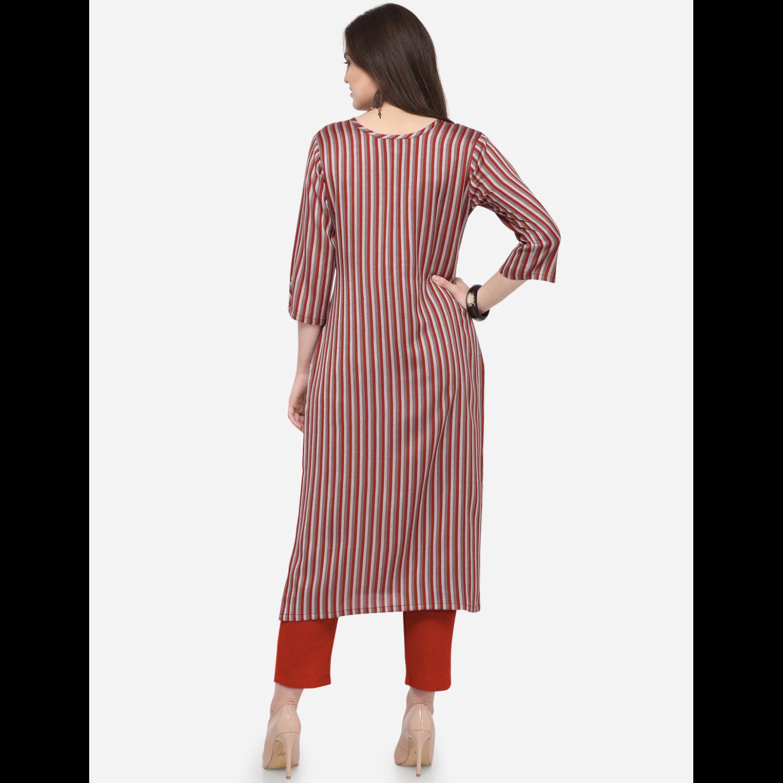 Womens South Cotton Striped Printed Kurti