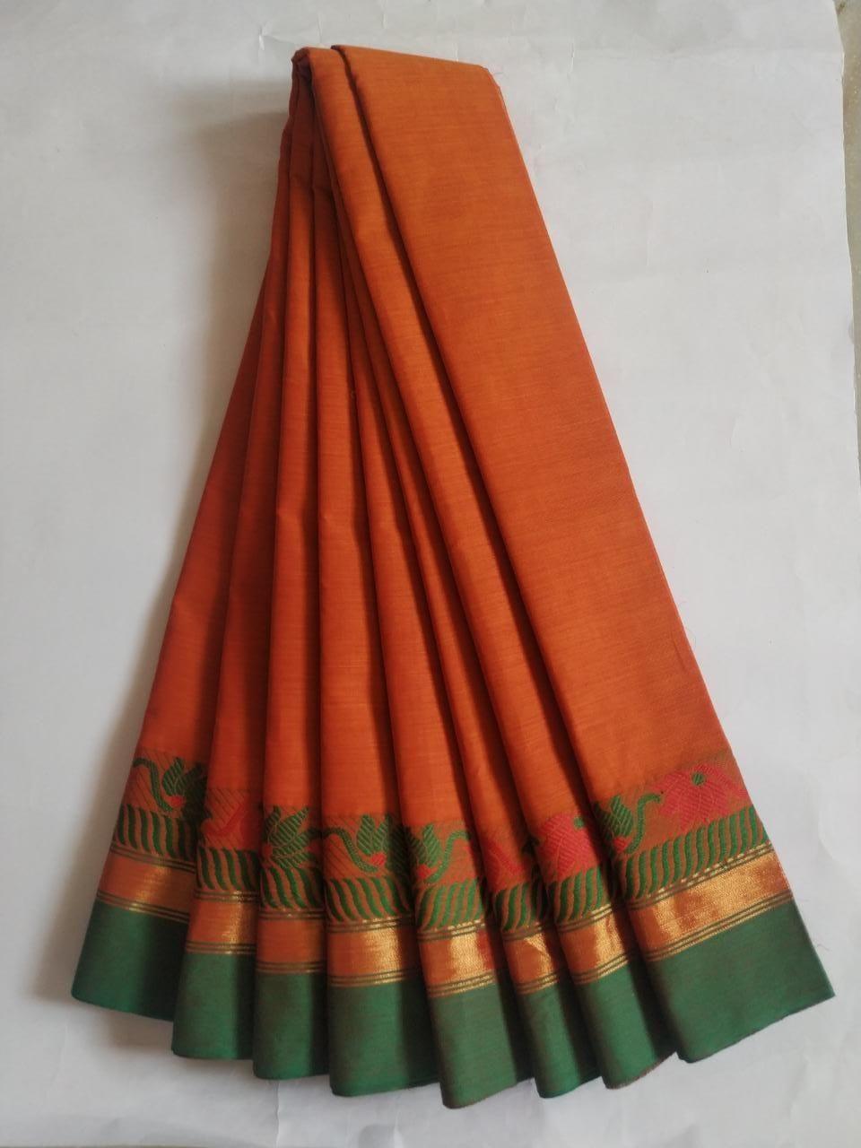 Women's Stunning Orange Cotton Solid With Border Saree