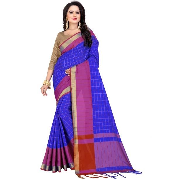 Women's Blue Cotton Silk Saree With Blouse Piece