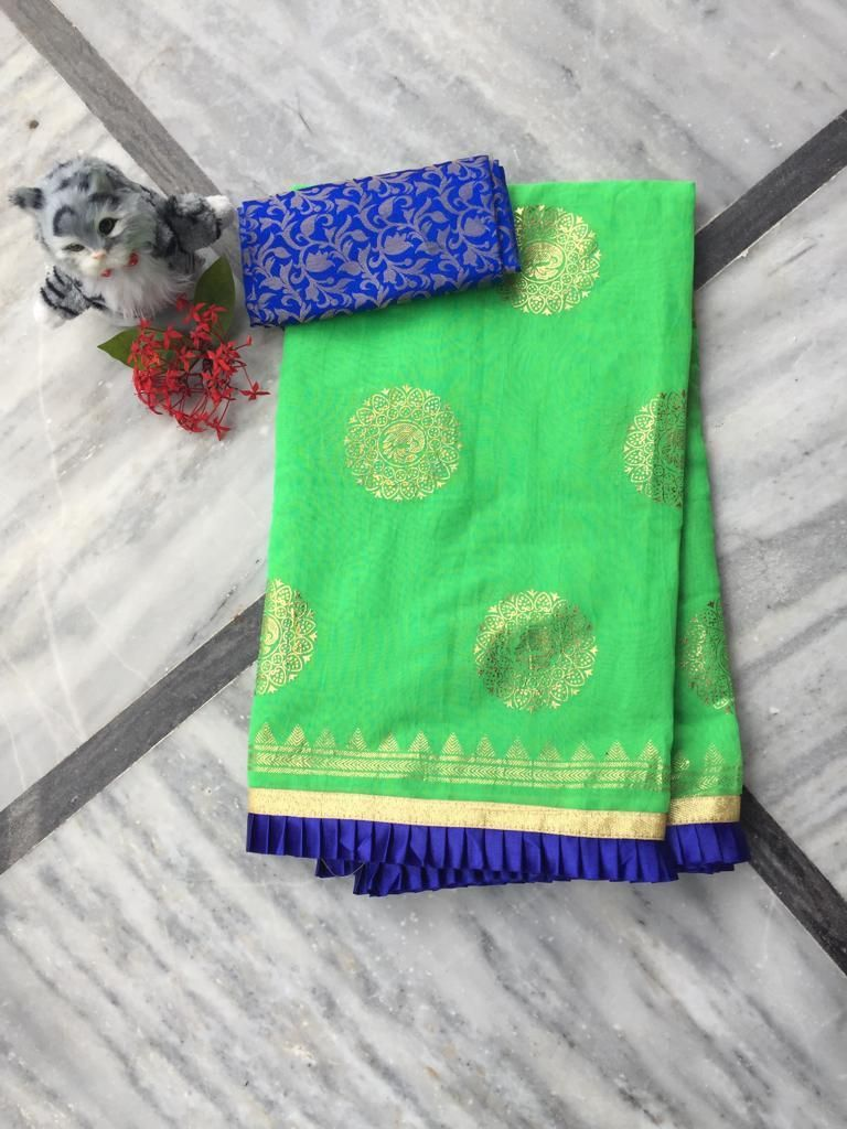 Adorable Green Chanderi Cotton Jacquard Work With Contrast Colour Pleated Border Regular Sarees