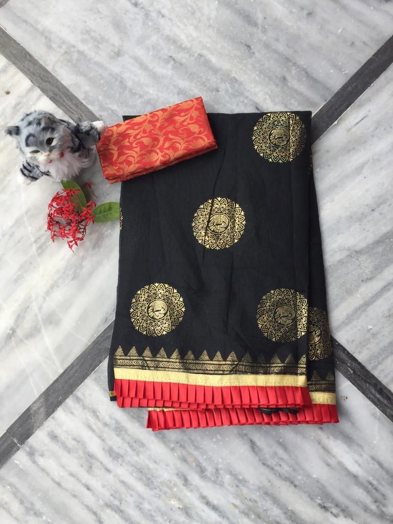 Adorable Black Chanderi Cotton Jacquard Work With Contrast Colour Pleated Border Regular Sarees