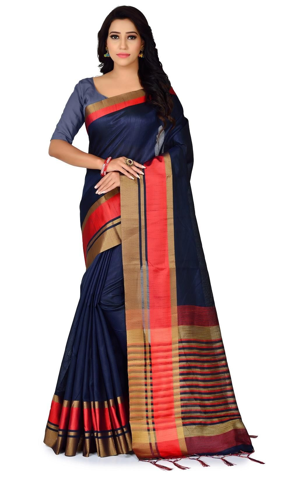 Lady's Trendy Polyester Cotton Solid With Border Regular Blue Saree