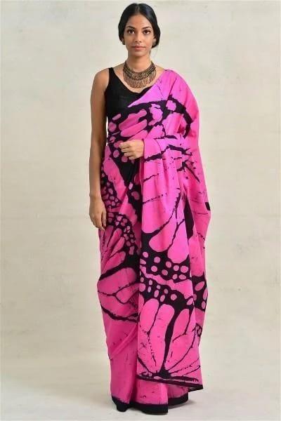 Gorgeous Pink Mulmul Cotton Printed Regular Saree