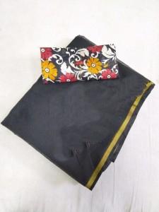 Chanderi Black Cotton Printed Saree