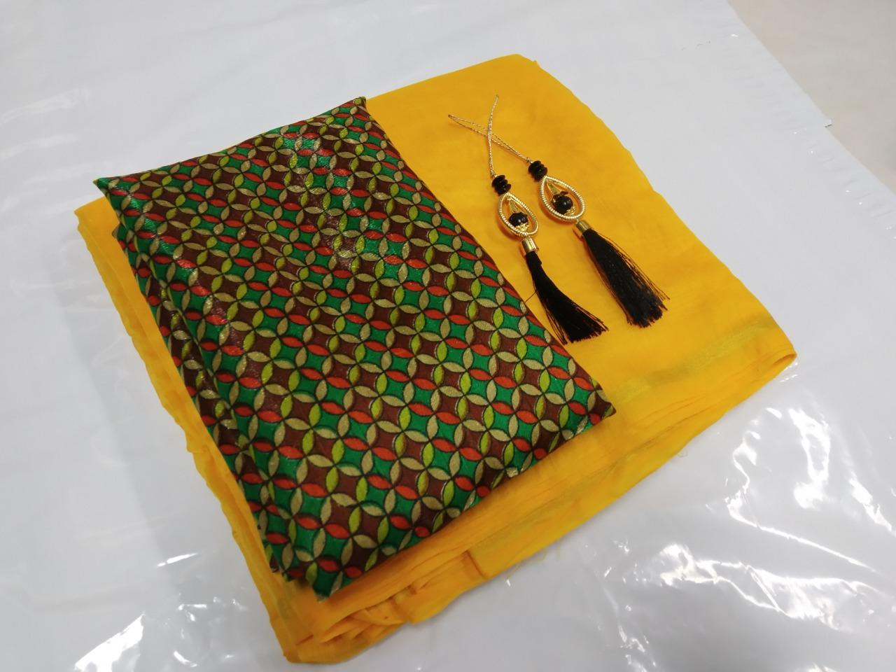 Pretty Yellow Cotton Solid With Lace Border Regular Saree