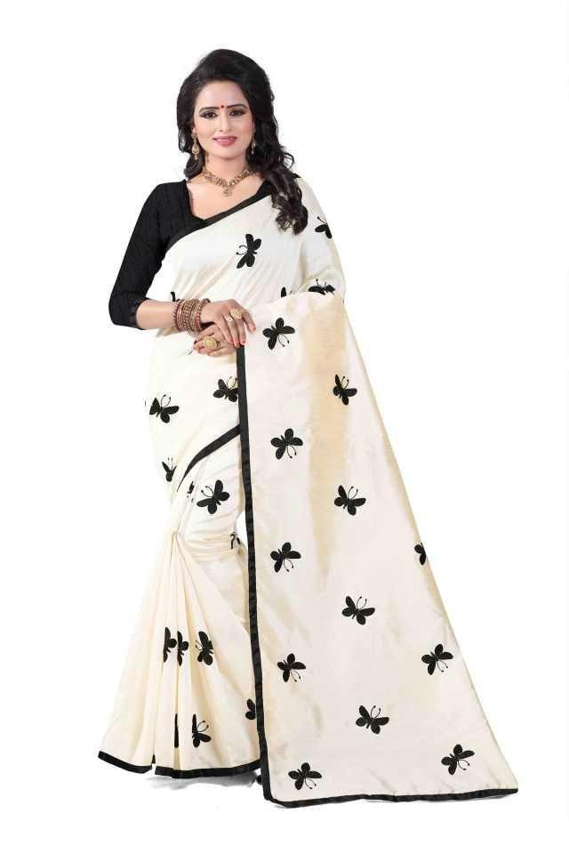 Pretty Black Silk Printed Regular Saree