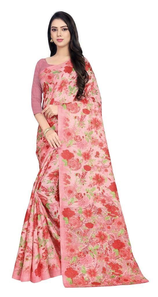 Latest Khadi Cotton Floral Pink Print Saree