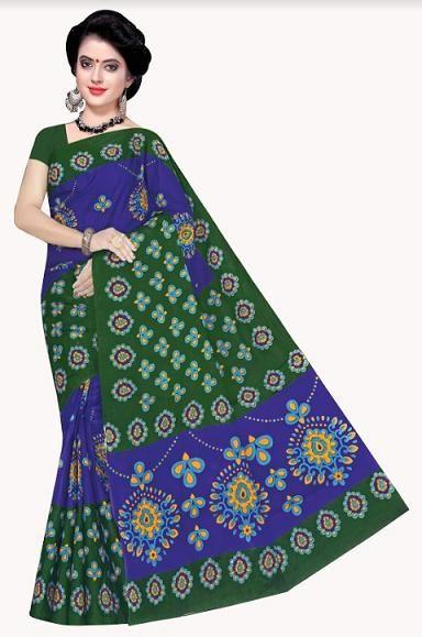 Regular Simple Green Blue Multi Cotton Floral Printed Saree